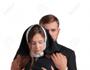 87438702, handsome young priest and sexy nun isolated on a white background religion concept 1